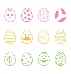 Set collection of colorful doodle easter eggs vector