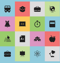 Set of 16 editable school icons includes symbols vector