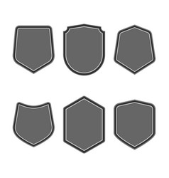 Set of black shields in trendy flat style isolated vector
