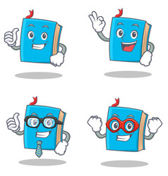 set of blue book character with proud okay vector image