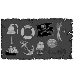 set of drawings on the sea theme vector image
