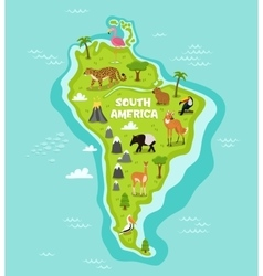 South american map with wildlife animals vector