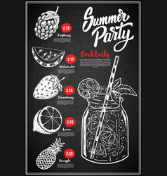 summer cocktails menu cover layout menu vector image vector image