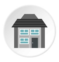 Two storey house with sloping roof icon vector