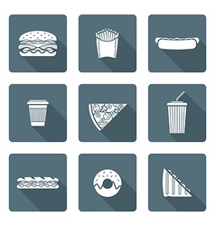 white monochrome various fast food icons vector image vector image