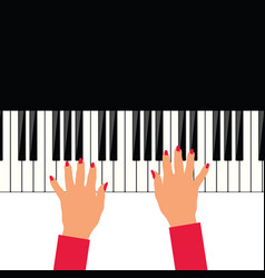 Woman hand on piano vector
