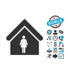 Woman Toilet Flat Icon with Bonus vector image