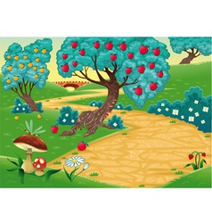 Wood with fruit trees vector