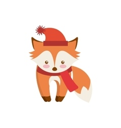 Cute animal merry christmas isolated icon vector