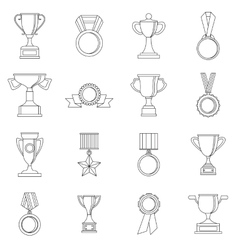 Trophy icons set outline style vector