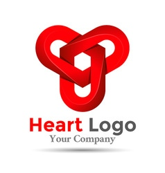 Colorful 3d volume logo design three hearts symbol vector