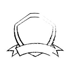 Shield premium badge ribbon sketch vector