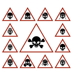Danger icons with skulls in triangles vector