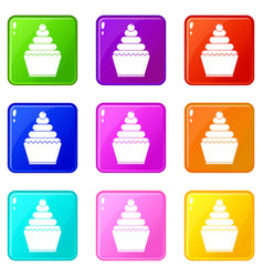 cupcake icons 9 set vector image