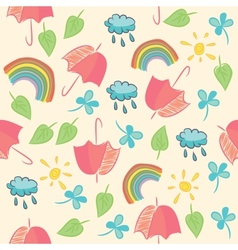 Seamless with umbrellas rainbow clouds and leaves vector