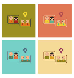 Assembly flat icons gay marriage vector
