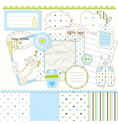Scrapbook elements for baby boy vector image