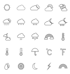 Weather line icons on white background vector