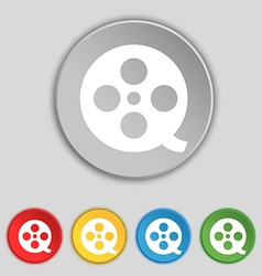 Film icon sign symbol on five flat buttons vector
