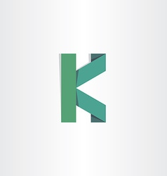 Letter k green paper icon vector
