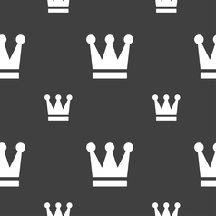 King crown icon sign seamless pattern on a gray vector