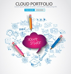 Cloud computing concept with doodle skeches vector