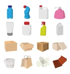 Packaging cartoon icons set vector