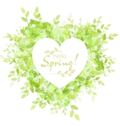 White heart frame with text hello spring vector image
