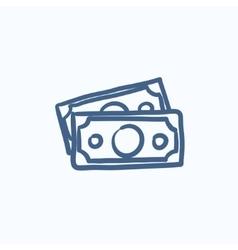 Money banknotes sketch icon vector