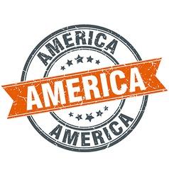 America red round grunge vintage ribbon stamp vector