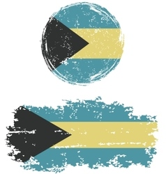 Bahamas round and square grunge flags vector image vector image
