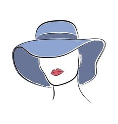 Beautiful elegant lady in the blue wide-brimmed vector image