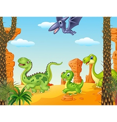 Collection dinosaur character vector image