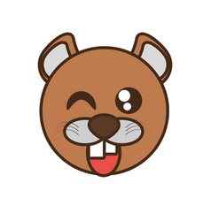 Cute beaver face kawaii style vector