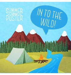 Cute summer poster - camping landscape with tent vector image
