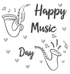 Doodle of music day hand draw vector