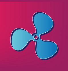 Fan sign blue 3d printed icon on magenta vector