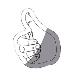 Grayscale contour sticker with hand with signal vector