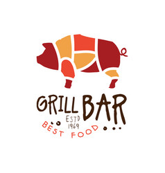 grill bar best food estd 1969 logo template hand vector image