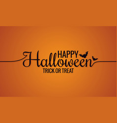happy halloween line vintage lettering background vector image vector image