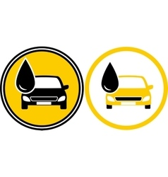 icons with car and fuel oil drop vector image