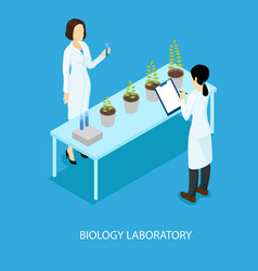 Isometric biological scientific experiment concept vector