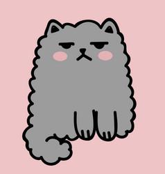 Kawaii cute fat white cat anime style vector