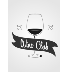 Logotype concept with wine glass and banner with vector image vector image
