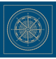 Marine emblem with compass rose vector image