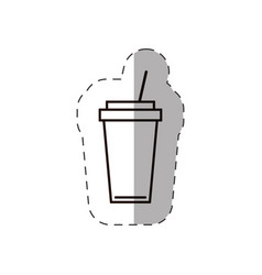 Paper coffee cup straw portable line vector