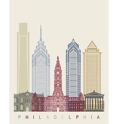 Philadelphia skyline poster vector