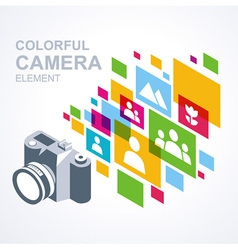 Photo camera icon colorful media element vector