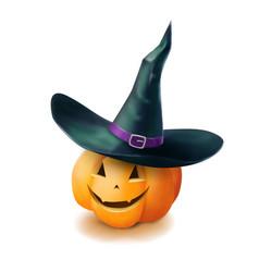 realistic halloween pumpkin vector image