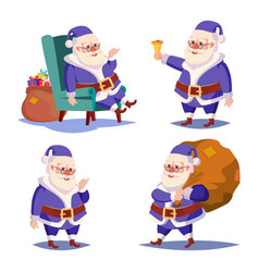 santa claus set isolated cartoon christmas vector image vector image